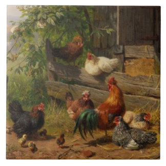 Vintage rooster and chickens home decor tile