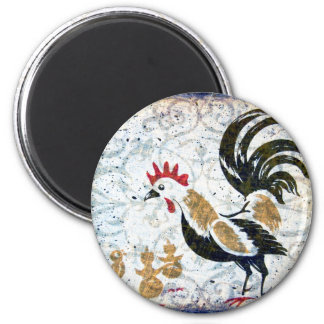 Vintage Rooster and Chicks 2 Inch Round Magnet