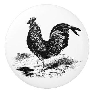 Vintage rooster black white kitchen decor knob