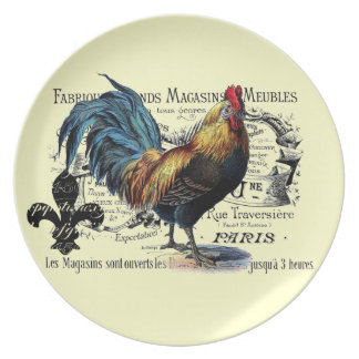 Vintage Rooster Collage Plate
