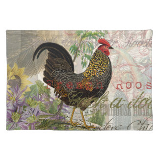 Vintage Rooster French Collage Placemat