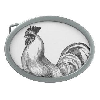 Vintage rooster illustration belt buckles