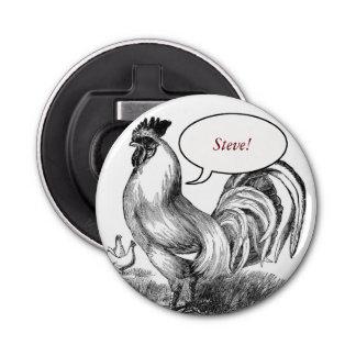 Vintage rooster illustration button bottle opener
