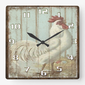 Vintage Rooster on a Rustic Old Wooden Boards Wallclock