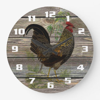 Vintage Rooster on Old Wooden Boards Kitchen Large Clock
