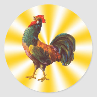 Vintage Rooster on Yellow Star Background Sticker