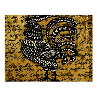 Vintage rooster postcard