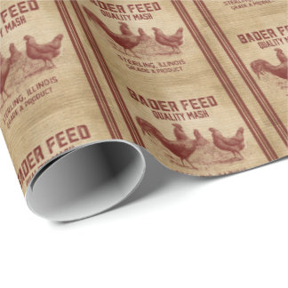 Vintage Rooster product ads party wrap Wrapping Paper