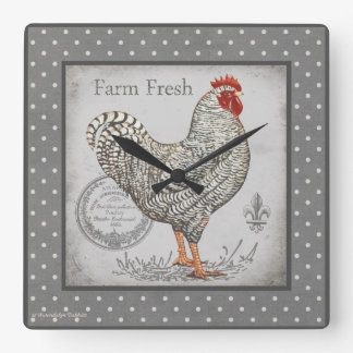 Vintage Rooster wall clock in greys & creams