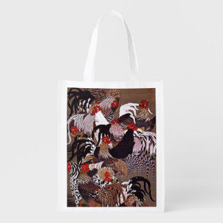 Vintage Roosters Art Reusable Grocery Bag