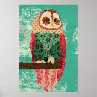 Vintage Rosa Owl Turquoise  Art Poster