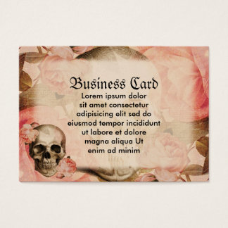 Vintage Rosa Skull Collage Business Card