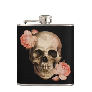 Vintage Rosa Skull Collage Hip Flask