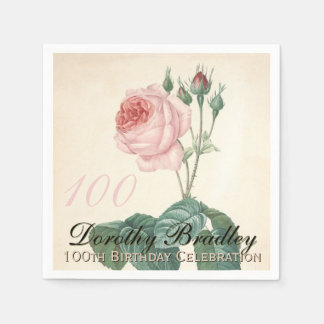 Vintage Rose 100th Birthday Party Paper Napkins
