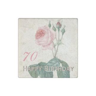 Vintage Rose 70th Birthday Celebration StoneMagnet Stone Magnets