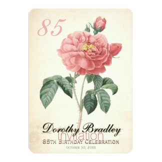 "Vintage Rose 85th Birthday Celebration Custom 5"" X 7"" Invitation Card"
