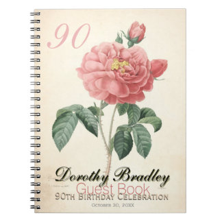 Vintage Rose 90th Birthday Celebration Guest Book