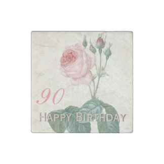 Vintage Rose 90th Birthday Celebration - Magnet Stone Magnets