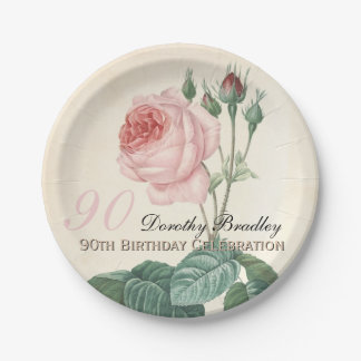 Vintage Rose 90th Birthday Celebration Paper Plate 7 Inch Paper Plate