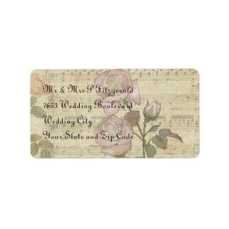 Vintage Rose and music score wedding set Personalized Address Label