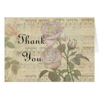 Vintage Rose and music score wedding set Note Card