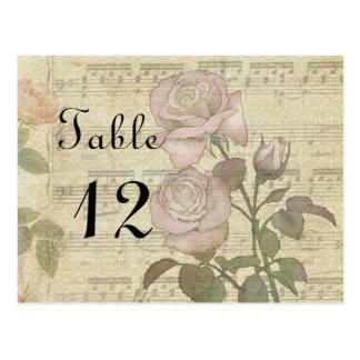 Vintage Rose and music score wedding set Postcard
