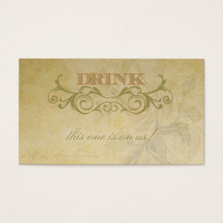 Vintage Rose and Swirl Wedding Drink Ticket