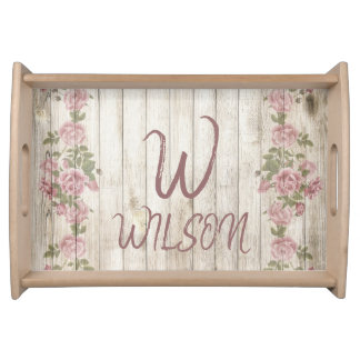Vintage Rose and Wood Monogram Serving Tray