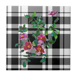 Vintage Rose - black and white plaid Tile