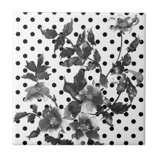 Vintage rose - black and white polka-dots tile