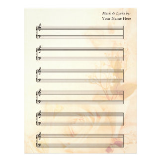 Vintage Rose Blank Sheet Music  Piano Staves