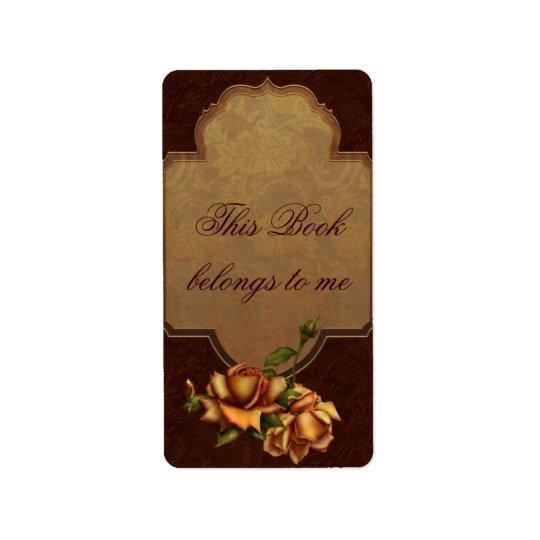 Vintage Rose Bookplate Label