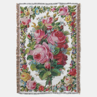 Vintage Rose Bouquet Afghan Throw