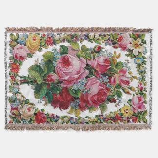 Vintage Rose Bouquet Afghan Throw Blanket