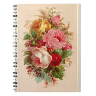 Vintage Rose Bouquet Note Pad Notebooks