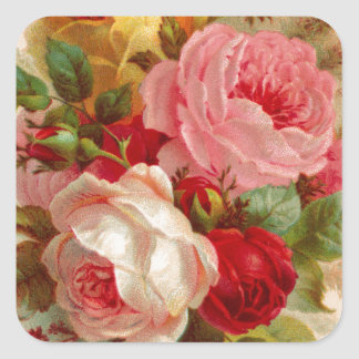 Vintage Rose Bouquet Square Sticker