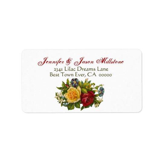 Vintage Rose Bouquet Wedding Label