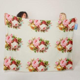 Vintage Rose Bouquets Fleece Blanket