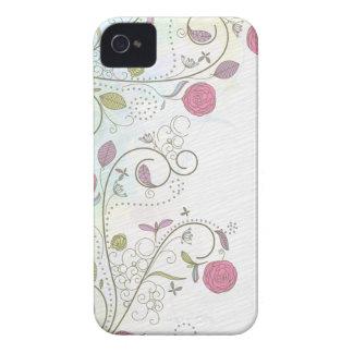 Vintage rose bud floral swirls iphone 4 case