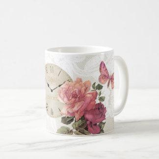Vintage Rose Butterfly Clock Time Lace Mug