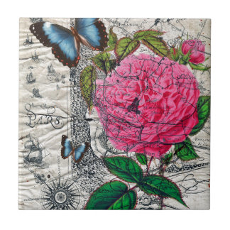 vintage rose butterfly map tile