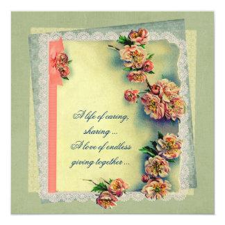 """Vintage Rose  Design for Vow Renewal 5.25"""" Square Invitation Card"""
