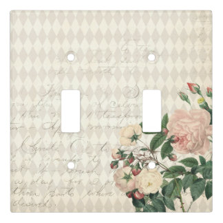 Vintage Rose Diamond Pattern Cream Light Switch