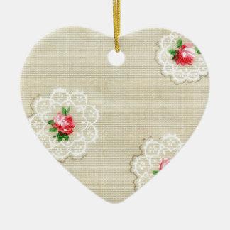 Vintage Rose Doily Wallpaper Ceramic Ornament