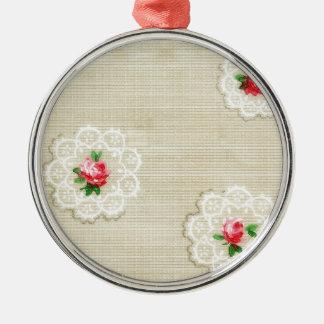 Vintage Rose Doily Wallpaper Metal Ornament