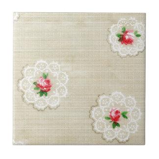 Vintage Rose Doily Wallpaper Tile