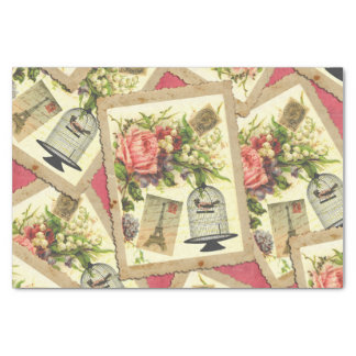 Vintage Rose, Eiffel Tower, & Bird Cage Postcard Tissue Paper