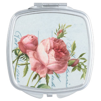 Vintage rose elegant & girly compact mirror