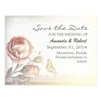vintage rose elegant save the date postcards