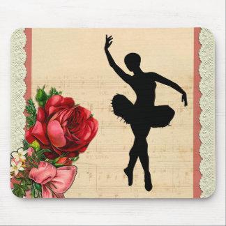 Vintage Rose Floral Ballet Musical Mouse Pad